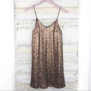 LF Millau Gold Sequined Slip Dress Shift Small
